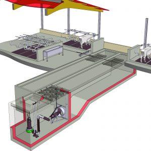 Illustration Slalomsystem mit Tauchmotorrührwerk und Pumpe