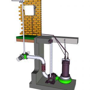 Tauchmotorpumpe mit Kupplungsfuß