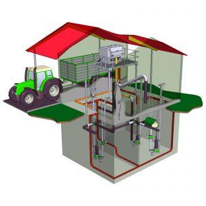 Pumpenhaus mit Separator und Tauchmotorpumpen