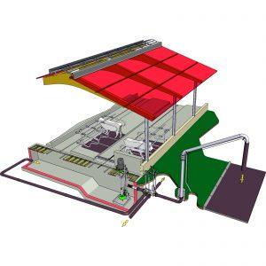 Illustration ER3-Pumpe mit Verteilerkasten und Befüllgalgen