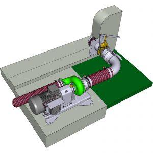 trocken aufgestellte ER3-E L-Pumpe mit Mauerdurchgang