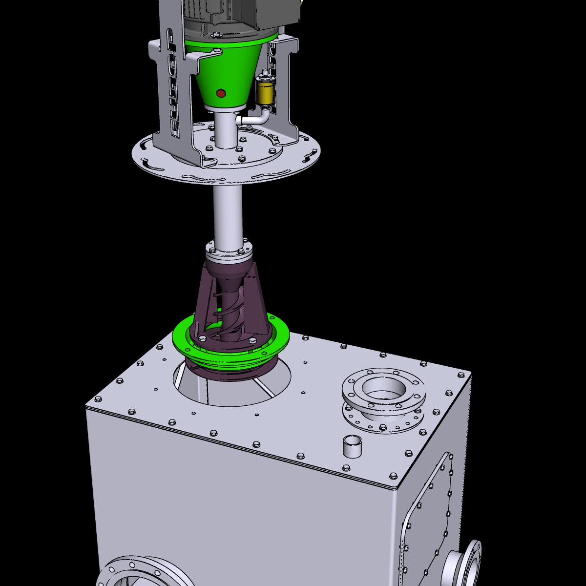 trocken aufgestellte Güllepumpe ER4 Ausführung POV ohne Vorgrube mit Sammelkasten