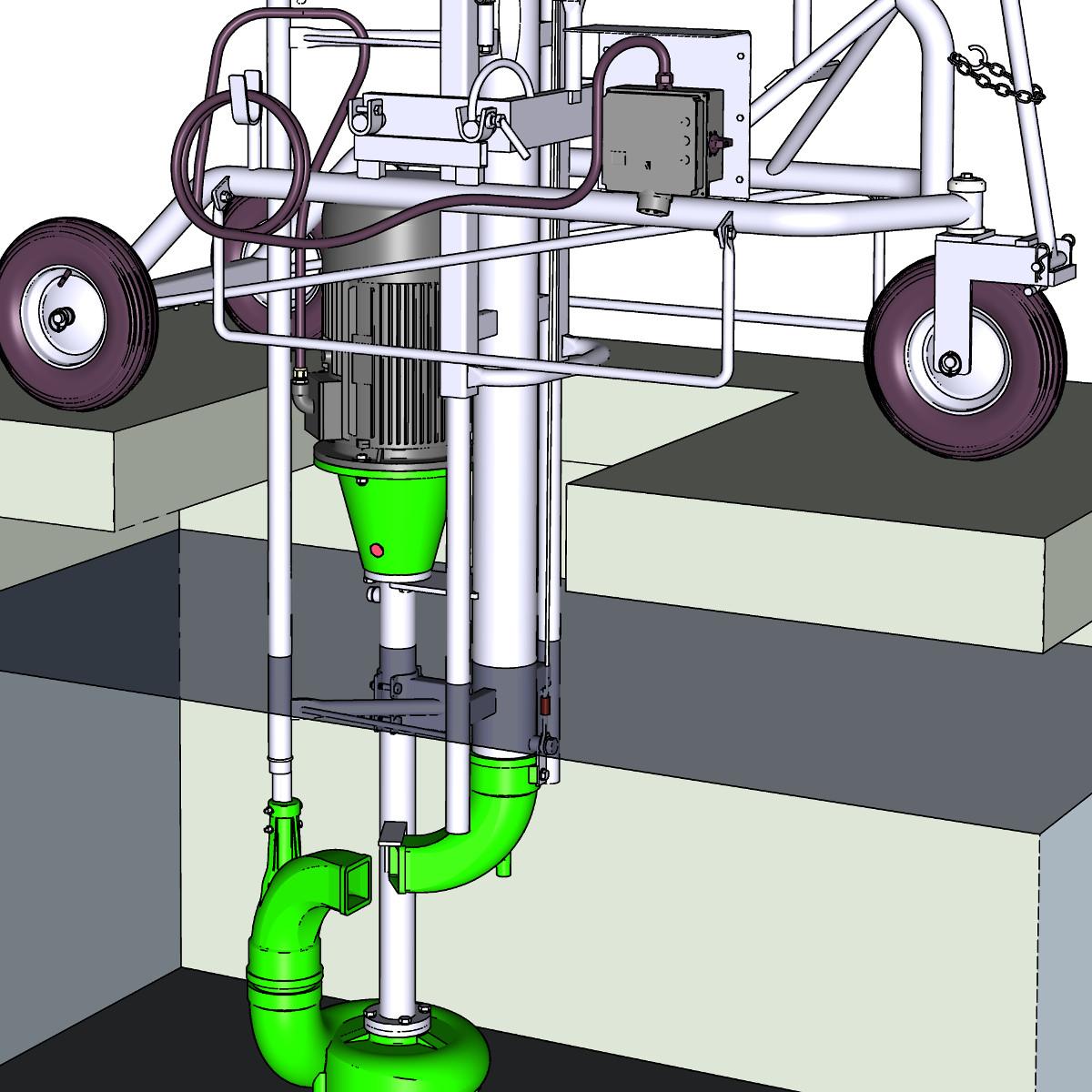 mobile, flexibel einsetzbare Güllepumpe mit Fahrgestell