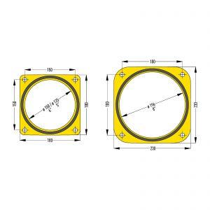 """Zeichnung 5"""", 6"""" und 8""""-Quadratflansch"""
