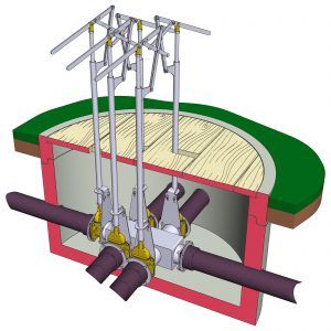 Illustration Einbau Verteilerkasten im Schacht