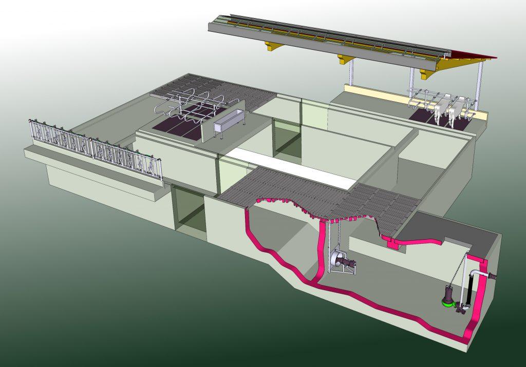 Illustration eines Slalomsystem-Güllekanals