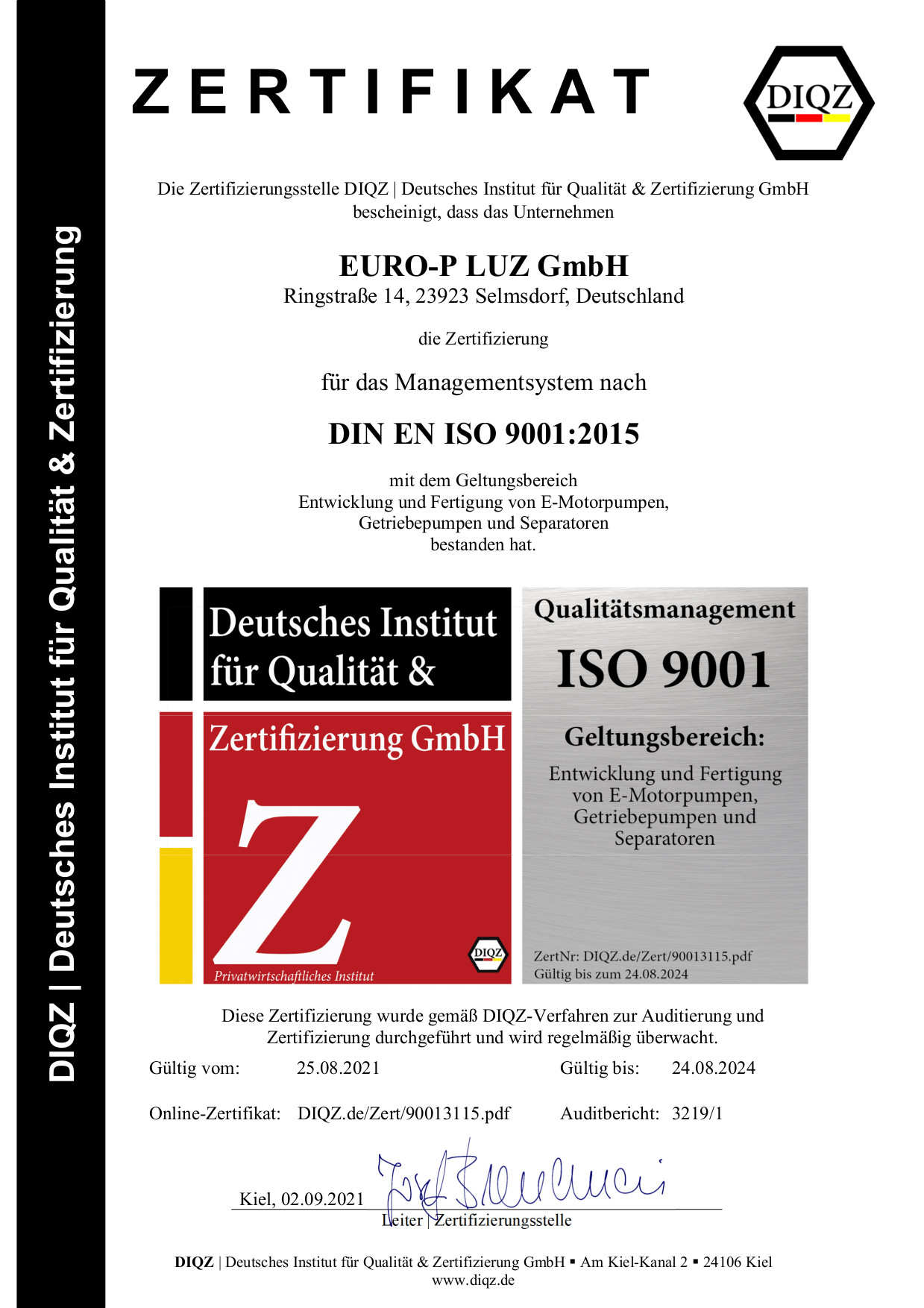 Euro-P ISO9001 Zertifikat